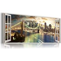 "New York PANORAMA Window View Canvas Wall Art Picture Large SIZE 38X16"" W16"