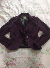 Luxuriöse Cappopera Jeans lila weicher Kord Kurz Blazer Jacke-Größe 10. sehr guter Zustand