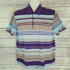 Lacoste Size M/4 Mens Polo Shirt Blue Brown Striped Devanlay SS Rugby Casual