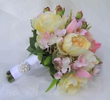 BRIDAL WEDDING BRIDES BOUQUET PINK LEMON PEONY TULIP ARTIFICIAL SILK FLOWERS