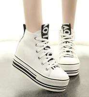 korean high top canvas shoes creeper platform womens lace up sneakers shoes c819