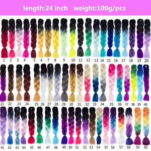 "24"" High Quality Ombre Dip Dye Synthetic Kanekalon Jumbo Braid Hair Extensions"