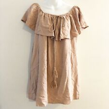 LuLus Blush Pink Off Shoulder Ruffle Dress Textured Womens Size Large L