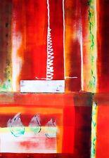 REGENBOGEN-ART *Blick durchs Rot 2* Acryl Orig. Kunst Kilgert ca. 40x55