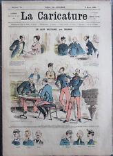 Albert ROBIDA Journal LA CARICATURE N°10 1880 Couv Couleur Café Militaire Draner