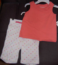 NWT 2 complete Girls 6-9 Months Outfits Dress Capris NEW Coral Stripes