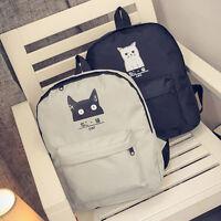 Women Cat Canvas Backpack Bag Girls School Bookbags Casual Travel Shoulder Bags