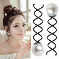 2 x Perlen Haar Mini Haar Spirale Frisurenhilfe Magische Haarklammer Pin Spange