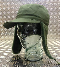 Genuine Swedish Army Green Cold Weather/Dog/Trapper Hat w  Ear Flaps 57cm - NEW