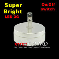 Frosted Ceiling bright battery LED LAMP Dollhouse miniature light 1:12 On//Off BK