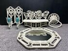 8 pc Vtg Homco White Faux Rattan Wall Hangings Mirror Butterflies Shelf Candle