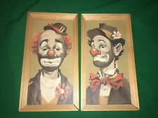 Vintage Clown Paint By Number Framed Art Lot Of 2 Red Nose