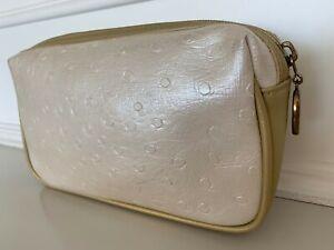 RARE~VINTAGE~SHISEIDO Faux Ostrich Leather Cosmetic Pouch Makeup Travel Case Bag