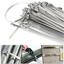 "100 x 12"" Stainless Steel Header Exhaust Wrap Self Locking Cable Zip Ties Straps"