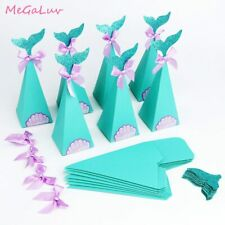10pcs/set Mermaid Paper Cookie Bags Gift Boxes Bags Girls Favors Birthday Party