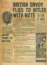 British Envoy Flies to Hitler with Note 29 August 1939 Daily Mirror Outbreak WW2