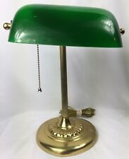 Vintage emerald glass dome Bankers lawyers Student Desk Brass Lamp Night Light