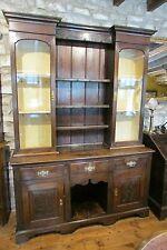 Antique Georgian & later Welsh OAK DRESSER glazed cabinet back dog kennel carved