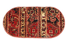 2x5 Classic Oriental Red Floral Hand Knotted Vintage Wool Patchwork Area Rug