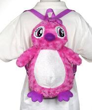 """16"""" Children's Girls Toddler Penguin Pink Backpack Plush Doll Pillow Travel Bag"""