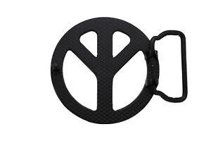 Men Women Round Belt Buckle Black Metal Peace Sign Freedom Motorcycle Biker Look