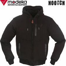 MODEKA Hoodie HOOTCH Motorradjacke schwarz mit Lederpaspeln Kapuze Protektoren