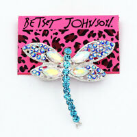 Women's Shiny Blue Crystal Lovely Dragonfly Charm Betsey Johnson Brooch Pin