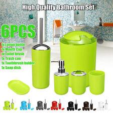 6 Pcs Bathroom Accessory Set- Soap Dish Toothbrush/Dispenser Toilet Tumbler Bin
