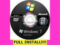 Windows 7 ULTIMATE 32 INSTALL Restore Recover Repair DISK +Drivers & VIDEOS DISK