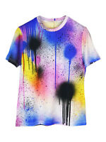 NEW Christopher Kane spray-paint style stretch multicolour T-shirt