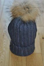 DEEP GREY Knit Natural Raccoon Fur XL Pom Pom Bobble Hat / Winter hat / Beanie.