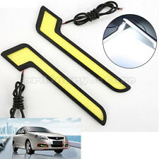 1 Pair White Car COB Led Daytime Running Light DRL Headlight Fog Lamp L Shape