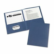 Avery Two-Pocket Portfolio, Embossed Paper, 30-Sheet Capacity, Dark Blue - 25 ct