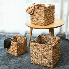 Natural Straw Square Desktop storage basket Iron Wire Handles Decor Seagrass