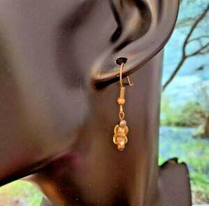 VINTAGE EARRINGS Hook Pierced 1980/90s Antique Gold Tone beads.Cute Classic.