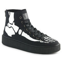 "Demonia 1.5"" Black Canvas Hi-Top Bone Skeleton Creeper Sneakers Boots Shoes 4-13"