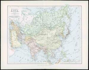 1903 Original Antique Colour Map - ASIA INDIA ARABIA Red Sea Indo China  (24)
