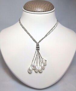 Yvel 18k White Gold Diamond & Natural Pearl Necklace *NEW!* N-6-TIE-PR-W