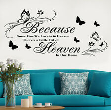 """Wall Art DIY Sticker/Decal LARGE Quote """"Because Someone We Love Is In Heaven"""""""