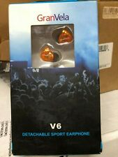 (1 PAIR) GranVela V6 Detachable Sport Earphones ORANGE audio buds head beat mp3