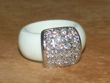 Silver Plated Ivory Bakelite & Cz Fashion  Ring ... Sz 5