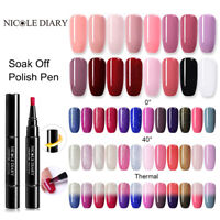 NICOLE DIARY 3 in 1 One step UV Gel Nail Polish Brush Pen Top Base Coat Nail Art