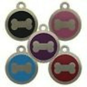 Stainless Steel Bone Pet Tag 25mm Several Colours  Free Engraving By Melian