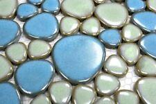 Mosaïque céramique galet bleu clair vert clair brillant bain 12-0401_b |1 plaque