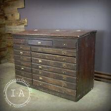Antique Wooden 17 Drawer Flip Top Storage Map Cabinet
