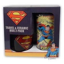 Superman Symbol Travel & Ceramic Mug 2 Pack Vintage Covers Licensed DC Comics