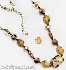 Chico's Signed Necklace Long Gold Tone Chain Leopard Bronze & Other Chunky Beads