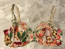 SOPHIE B. B2297  Embroidered Lace Satin Unlined Underwire Bra Floral ~ 34C
