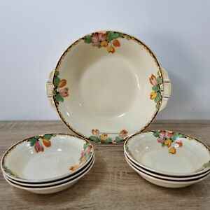 Vintage GRINDLEY Art Deco 1930s Berry Dessert Bowl Set (7) Floral Anemone?