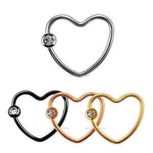 Titanium Plated Heart Ring Helix Cartilage Tragus Ear Tragus Daith 16G Piercing